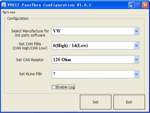 VVDI2 Passthru configuration